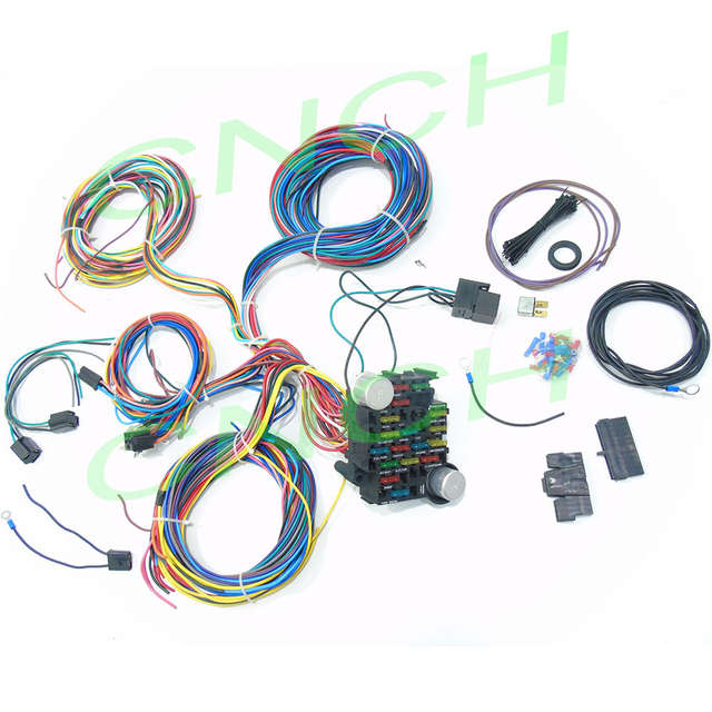 21 circuit wiring harness street hot rats rod custom universal wire kit extra xlong wires Chevy Wiring Harness