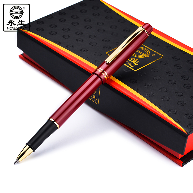 Wingsung 580 Red Black Blue Business Metal Roller Ball Pen 0.5mm Nib Gold Clip Rollerball Pens Stationery Office School Supplies black jinhao ballpoint pen and pen bag school office stationery brand roller ball pens men women business gift send a refill 013