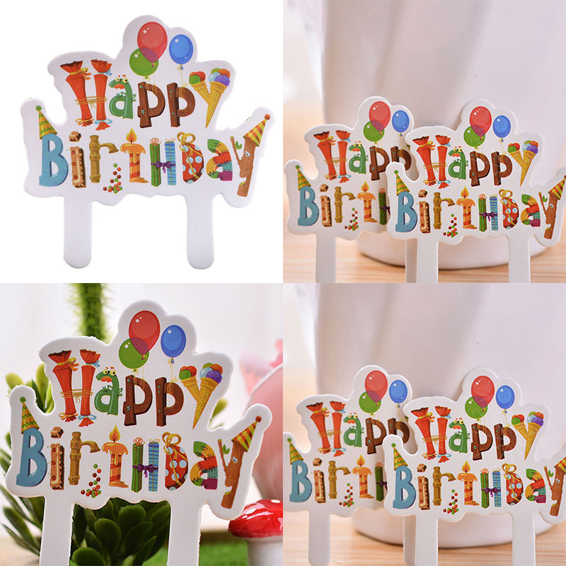 30PCSset paper Cartoon Print Happy Birthday Cake Topper for Kids