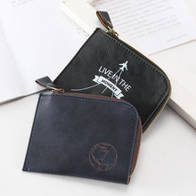 4 Colors New High Quanlity Simple PU Leather Casual Coin Purse Boys PU Zipper Change Purse Men's Mini Wallet Key Card Bag Gift