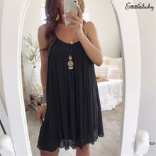 Plus Size Women Sexy Sleeveless Strappy Dress Ladies Casual Party Mini Loose Summer Beach Dresses