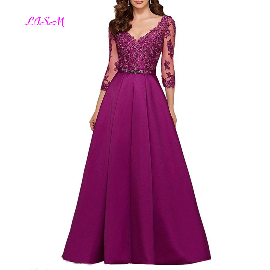 Purple 3/4 Long Sleeves Evening Dresses 2019 Elegant Lace Appliqued Beaded Long Formal Gowns Illusion V Neck Satin Prom Dress