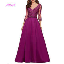 Purple 3/4 Long Sleeves Evening Dresses 2019 Elegant Lace Appliqued Beaded Formal Gowns Illusion V-Neck Satin Prom Dress