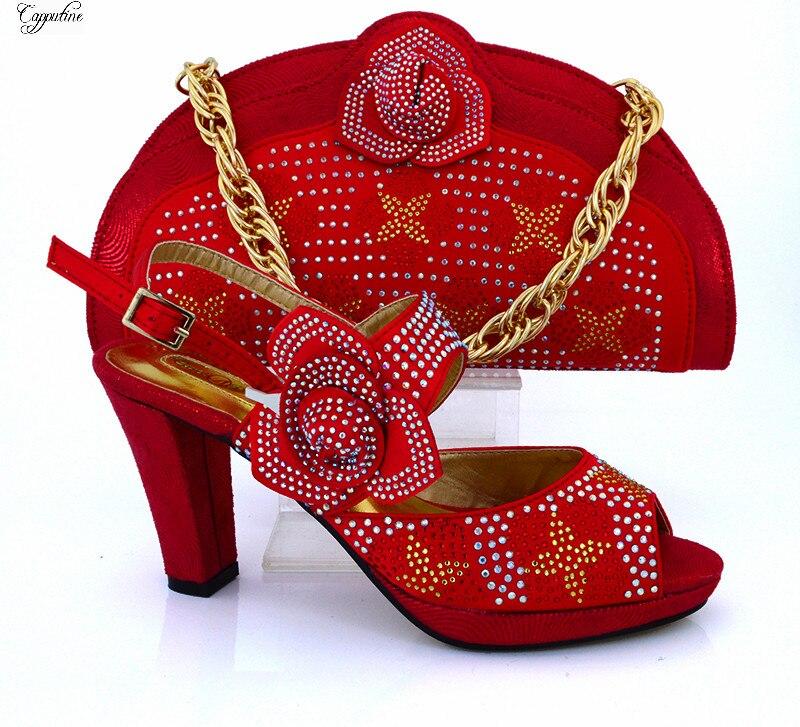 Великолепный красный Высокий каблук Женская обувь в африканском стиле и сумки наборы для модные вечерние женские разных цветов доступны ...