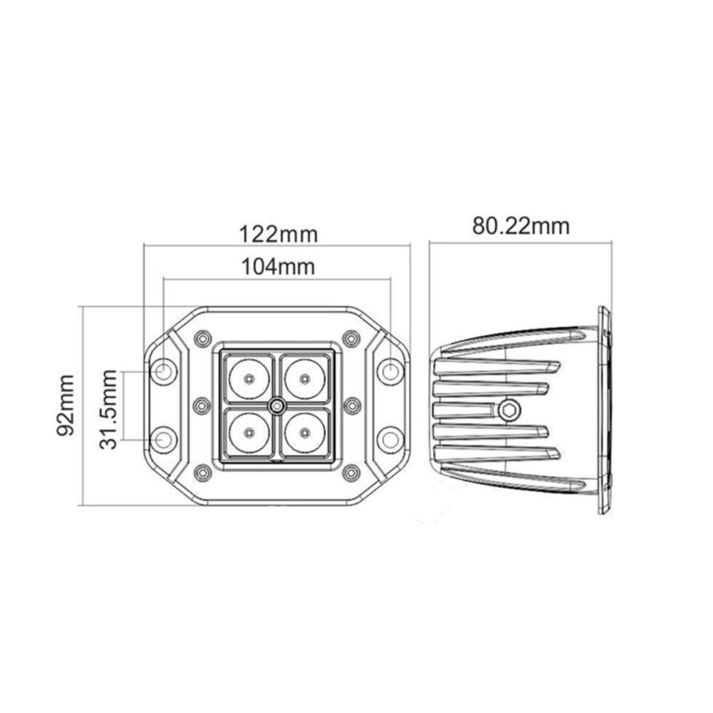 hight resolution of package includes 2pcs white red flus mount 24w led work light 1set wire harness