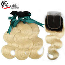 Beautiful Queen Hair 10A Peruvian Remy Human Hair Ombre Blonde Hair 3 Bundles With 4X4 Lace Closure 1B/613 Body Wave Hair Wefts(China)