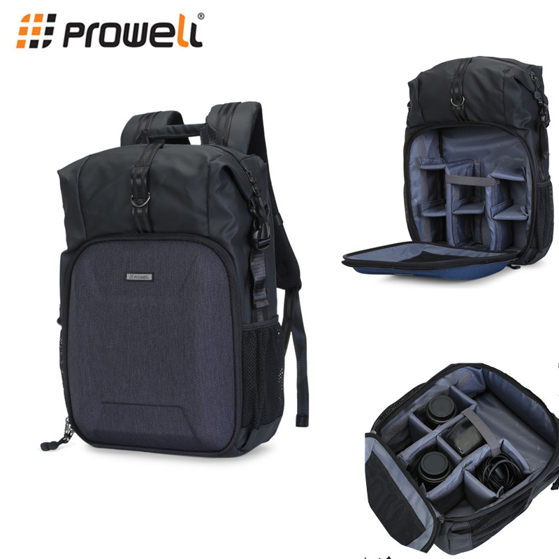 PROWELL DC22345 Water Resistant Camera Backpack Laptop Travel Daypack for Nikon Canon Sony Digital SLR