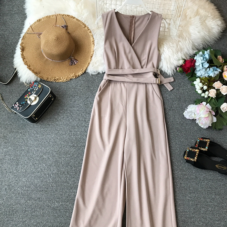 ALPHALMODA 2019 Spring Ladies Sleeveless Solid Jumpsuits V-neck High Waist Sashes Women Casual Wide Leg Rompers 27