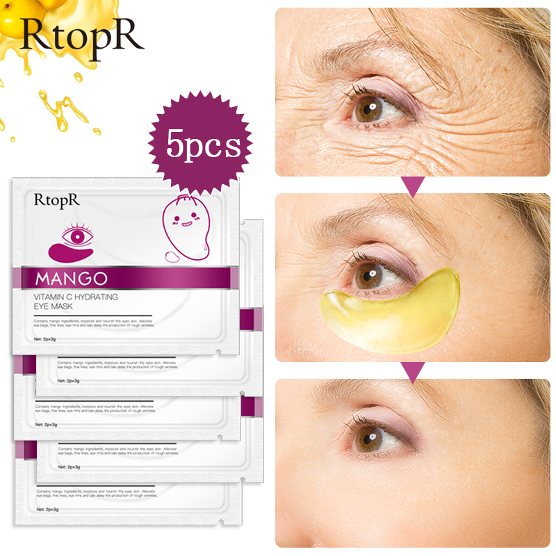 10pcs=5packs Mango Vitamin C Hydrating Anti-Aging Eye Mask Skin Serum Gold Eye Patches Care Remove Wrinkle Dark Circle Puffiness
