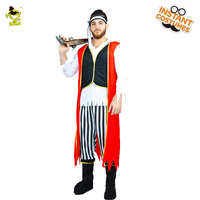 Adult's Men's Captain Castaway Pirate Fancy Dress Ruthless Buccaneer Halloween Party Costume Viking Imitation Pirate Costumes