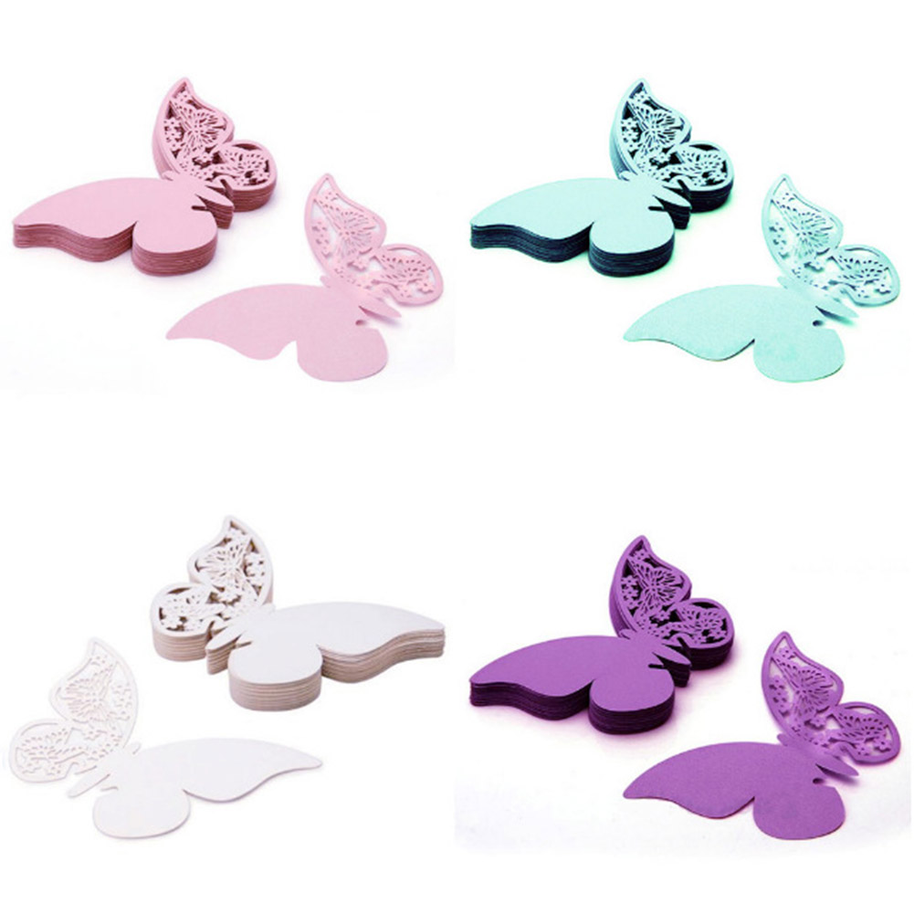 50pcs/lot Butterfly Shape Wedding Engagement Party Decorations Cards Wine Glass Paper Cards Name Place Cup Card