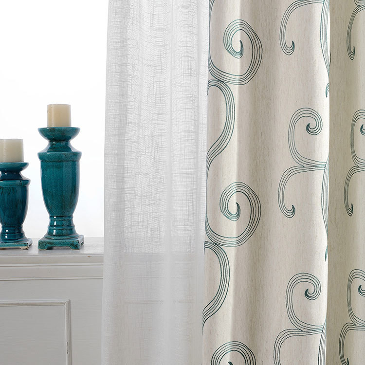 Factory Direct Multicolor New Cotton Plain Green Cloth Embroidered Curtains Wholesale Living Room Curtain Rustic