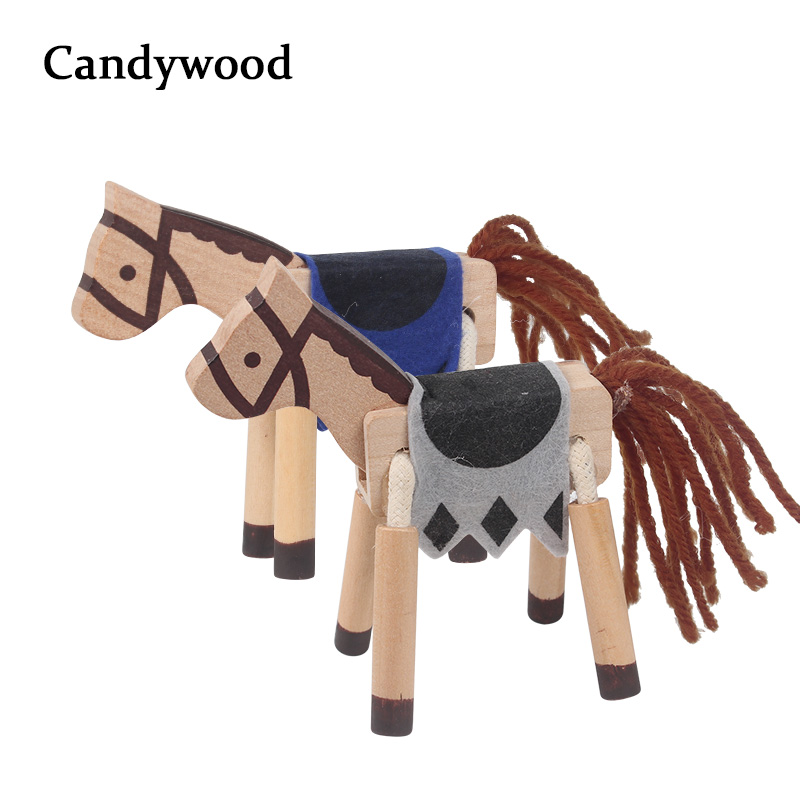 Candywood 3d Cute Horse Animals Headfoot Movement Wooden Blocks Baby Kids Decorative Doll Small Emulation Animal Figurines In Blocks From Toys