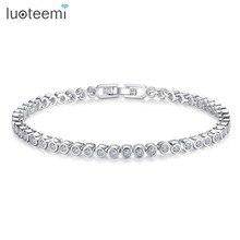 2015 Women Luxury Platinum Plated Genuine Round Clear CZ Tennis Bracelets & Bangles For Elegant Party Jewelry браслет с брелоками jewelry 2015 m16 bracelets