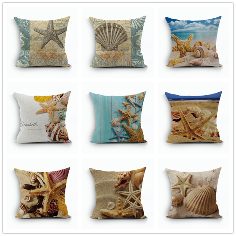style cushion cover marine decoration pillowcase linen cotton pillow cushions covers 45x45cm beach decor shell