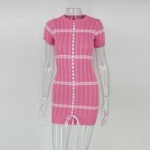 Joyfunear natal 2017 Inverno de malha de manga curta bodycon vestido Das Mulheres do vintage elegante vestido de camisola rosa mini vestidos chiques(China)