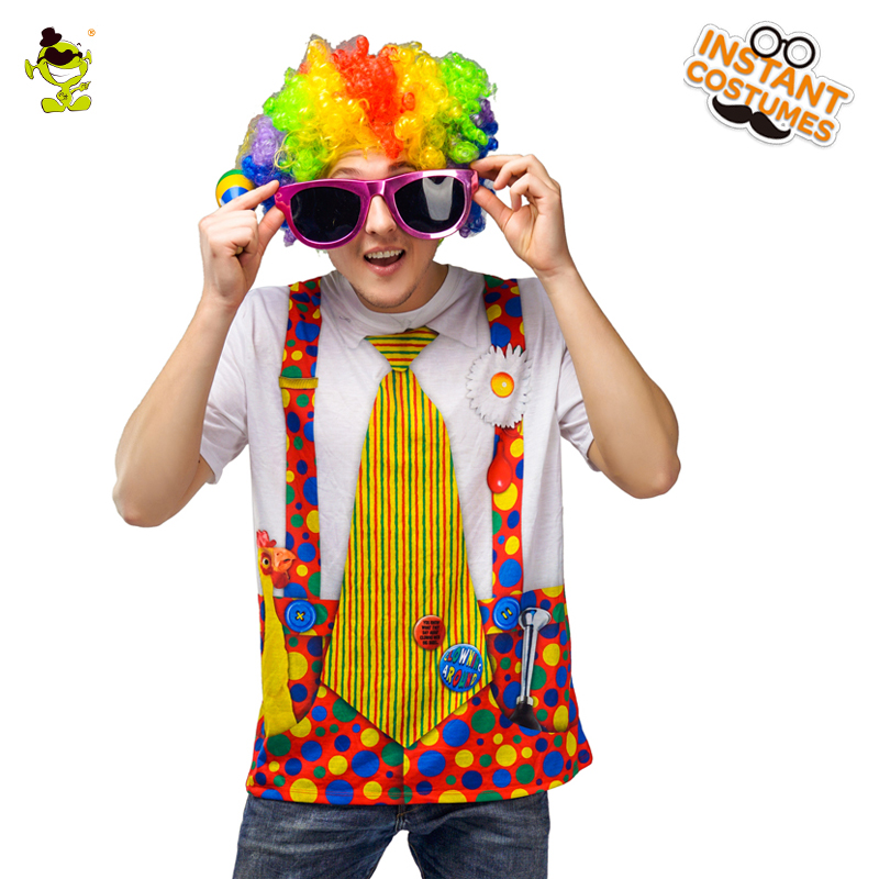 Men's Circus Clown 3D T-Shirt Halloween Party Cosplay Costume Short Top With Wig Funny Clown T-shirt