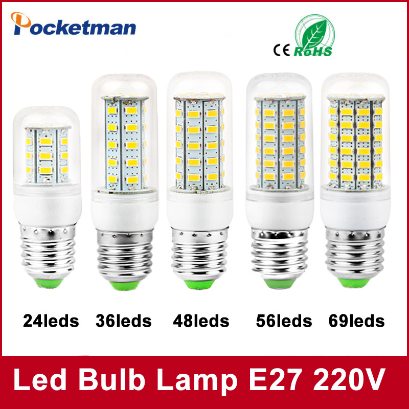 1PCS 220V Mini LED Lamp E27 SMD5730 LED Corn Light Lampada LED Bulb High Lumen 24/36/48/56/69/81/89LEDs Chandelier Lights ultra bright smd5730 e27 led corn bulb 24 36 48 56leds 220v lampadine led light chandelier lamp gu10 g9 e14 bombillas lampada