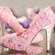Romantic Pink lace rhinestone wedding shoes all-match perfect bridal shoes customize High Heels Party Prom Pumps