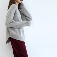 17 Casual Female High Quality Pure Cashmere Sweater O Neck Sweater Thickening Loose Basic Asymmetrical Sweater