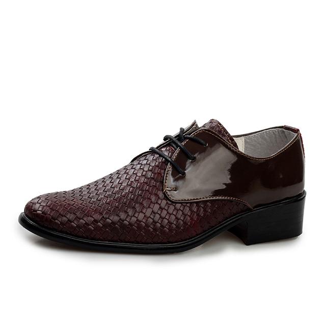 aa5e3217 Caballeros de Cuero Repujado baratos Zapatos de Vestir Hombre Ata Para  Arriba Negro Color marrón Derby