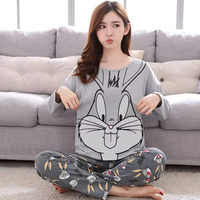 Pijama de Mujer 2019 conjuntos de Pijamas de Primavera Verano de manga larga con estampado fino lindo pijama de niña grande pijama de estudiante de ocio de Mujer