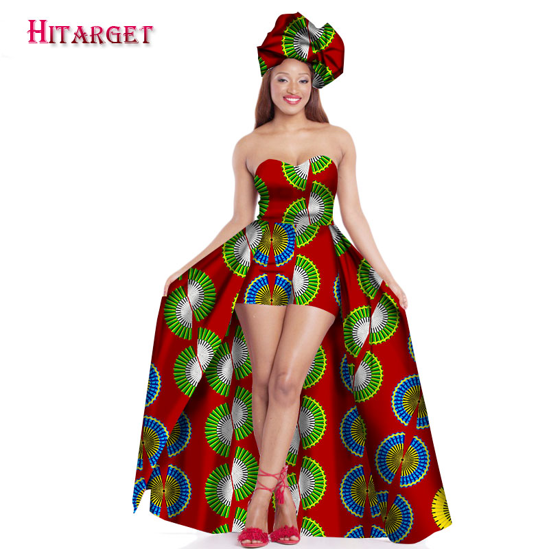 2019 Sexy Vestidos African Dresses for Women Bazin Strapless Dresseswith Headtie Dashiki Kanga Ankara African Clothes WY1580 in Africa Clothing from Novelty Special Use