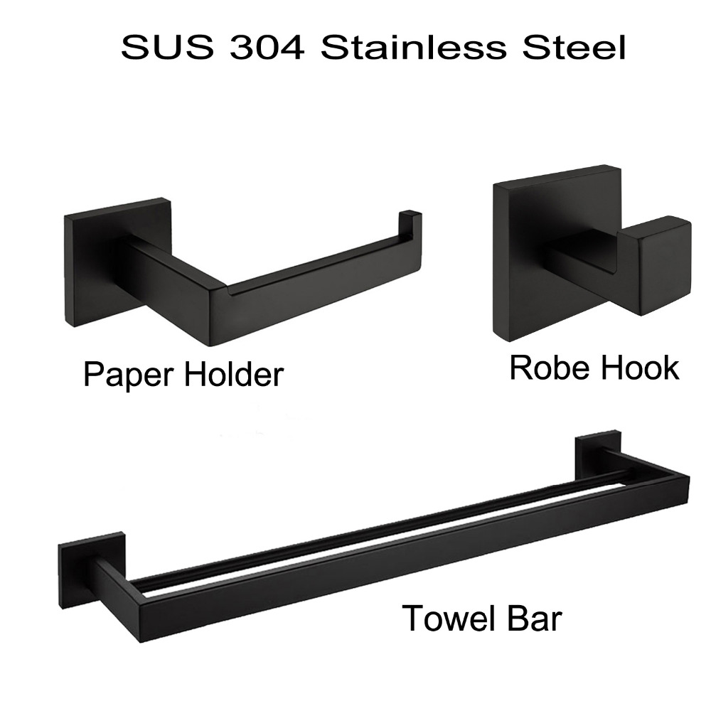 Matte Black SUS 304 Stainless Steel Bathroom Accessories ...