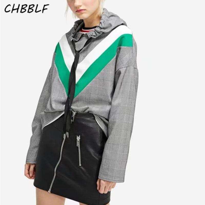 Fashion Design Plaid Hoodie womens shirt long sleeve pullovers autumn female tops XDN9190