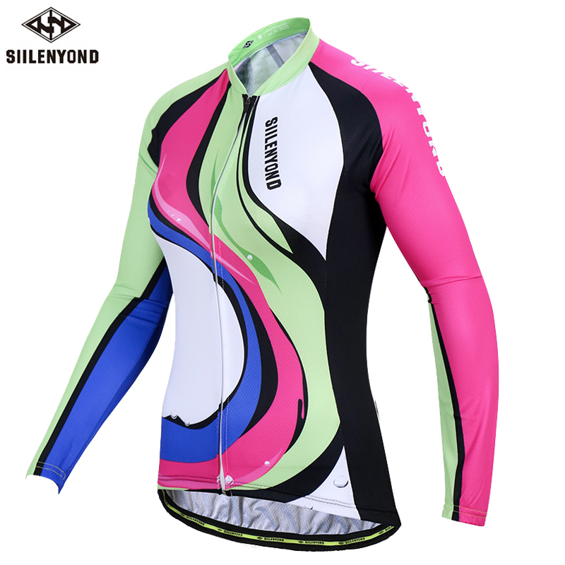 SIILENYOND Kristine Long Sleeve 100% Polyester Women Cycling Jersey Autumn Mountain Bike Wear Cycling Clothing Ropa Ciclismo