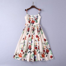 High quality embropidered rhinestone Ball Gown dress New 2019 summer floral print slip dress Fashion women's party dress A173