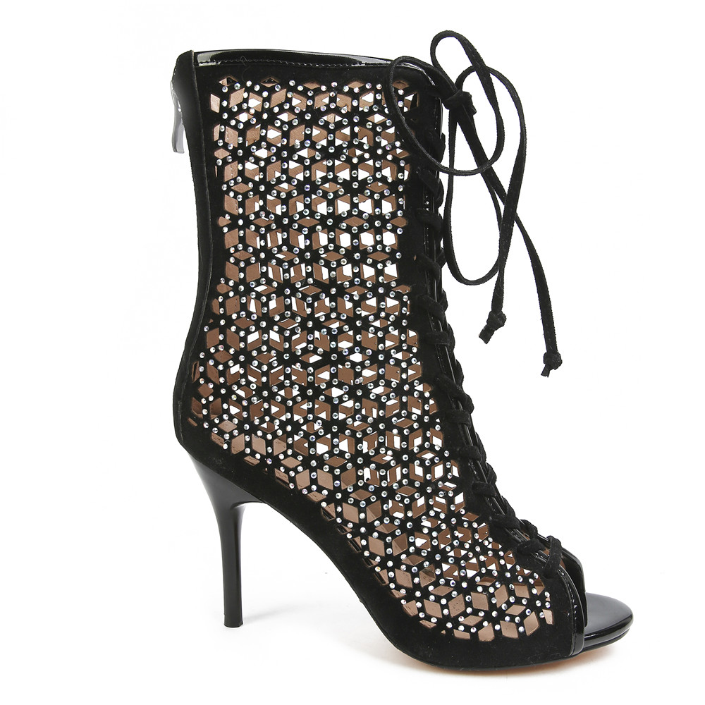 Hauts Bottes Morazora Toe Nouvelles Femmes Mode Troupeau 2018 Talons D'été Cristal Sexy mollet Noir Top Chaussures Mi Dentelle Peep À Qualité up XkiuPZ