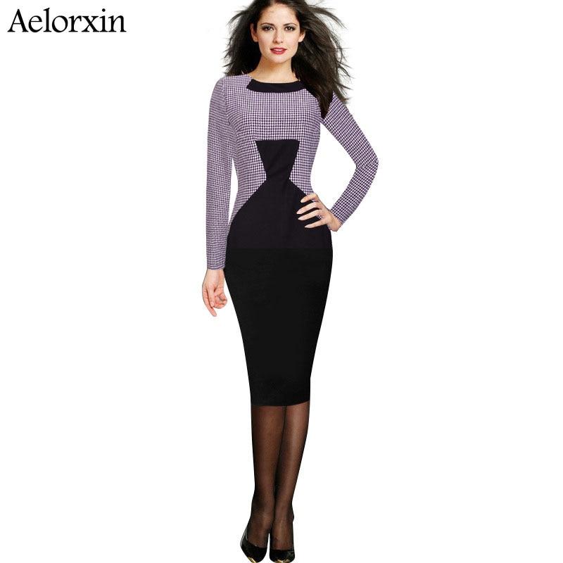 19b100e6a7d Vestido de otoño mujer Oficina Vestido de manga larga empalme houndstooth  bodycon partido Vestidos más tamaño 2016 nueva llegada aelorxin
