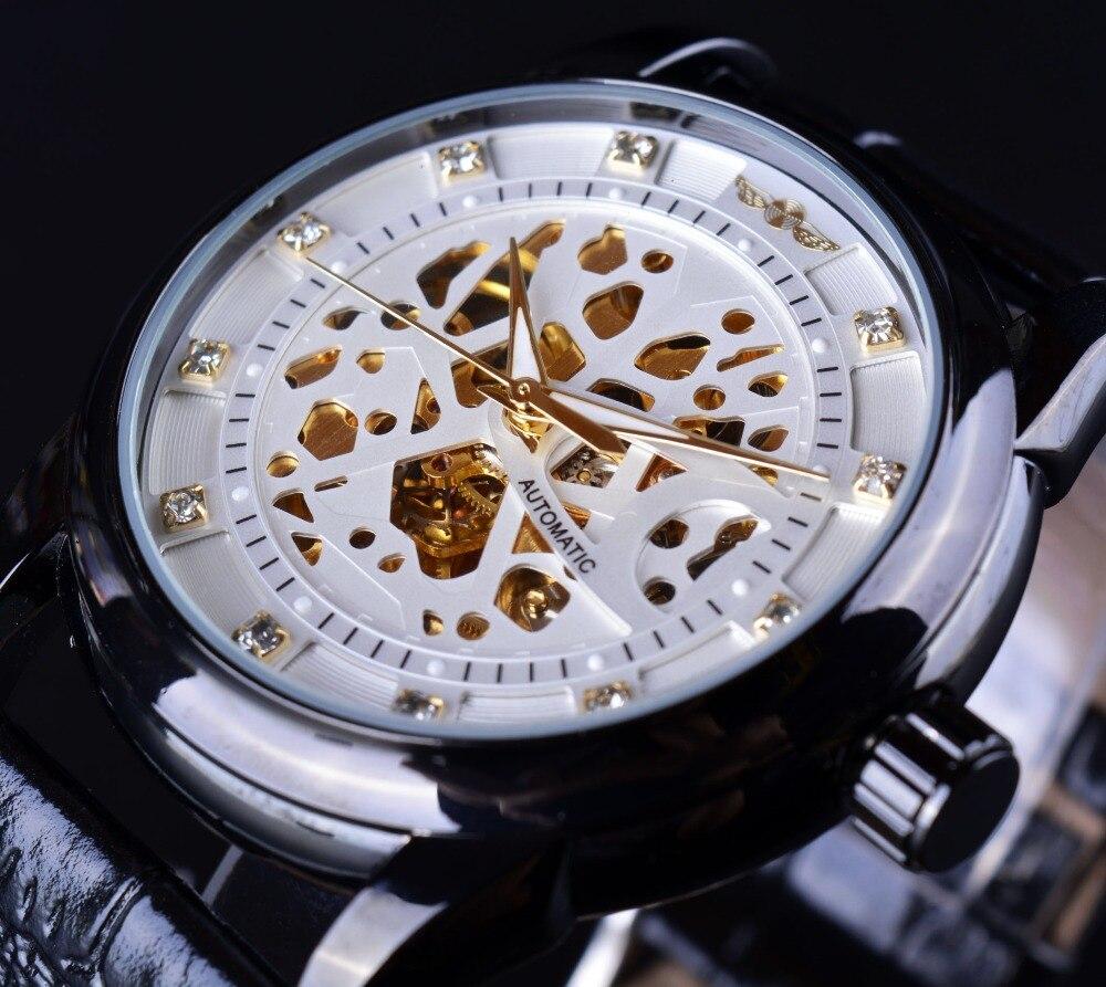 11f9c55bfc9 Vencedor Esqueleto Design Diamante Homens Relógio Automático Relógio Relogio  Masculino Reloj Hombre Montre Saat Erkek Luxo Relógio Dos Homens De Ouro  Branco ...