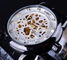 Zwycięzca szkielet diament projekt mężczyźni automatyczny zegarek Erkek Saat Relogio mężczyzna zegar Reloj Hombre Montre luksusowe biały złota mężczyzna zegarka tanie tanio Mechaniczne Zegarki Na Rękę Okrągły 4 30mm Skóra Papier Moda casual 23mm 14mm Klamra Ze stali nierdzewnej T-WINNER