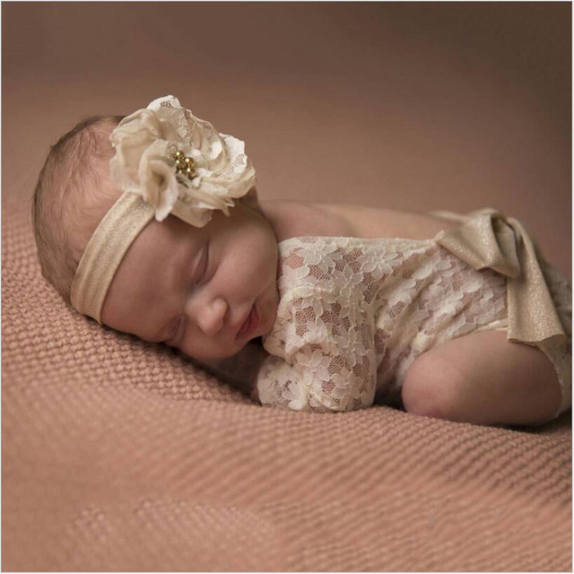 2017 newborn baby lace romper photography prop clothes newborn boy girls photo prop rompers vintage