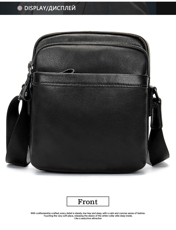 Men's Shoulder Bag for Men Crossbody Bags Genuine Leather Flap Small Male Bussiness Handbags with Zipper Messenger Bag 9