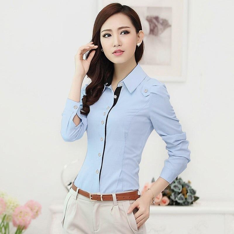 0f6fc55428 Para mujer formales camisas azules mujeres oficina blusa de manga larga  camisas de uniforme para mujer nuevo 2015 primavera otoño Plus tamaño XXXL  elegante ...
