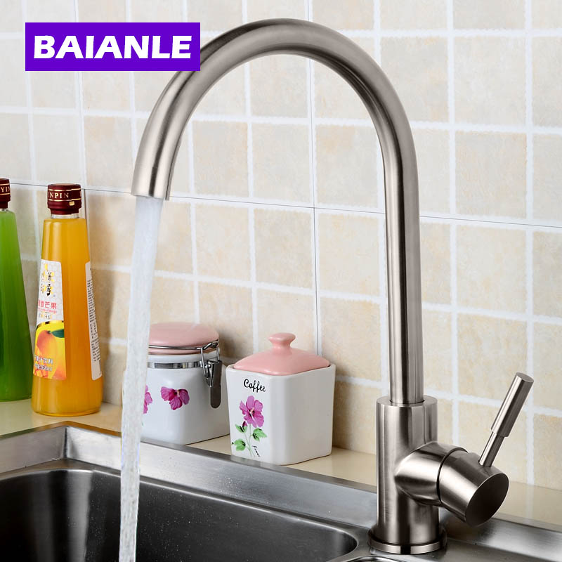 Stainless Steel Kitchen Faucet Hot and Cold Water Classic Process Swivel Basin Faucet 360 Degree Rotation