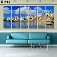 Island Sea Wall Art Greek Syros Canvas Print Blue Sky And Sea Landscape Painting Multi Panel