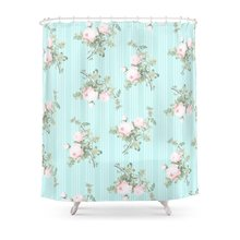 Shabby Chic Roses Pink And Mint Shower Curtain Set Waterproof Bath Curtain  For Bathroom With Non