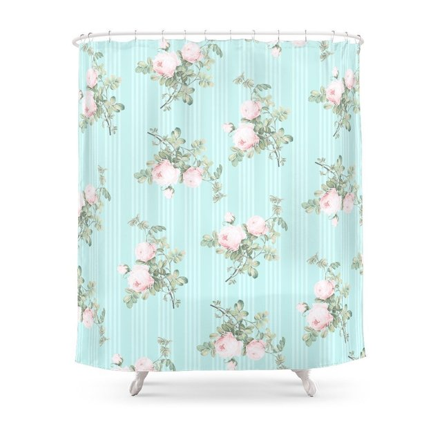 Shabby Chic Roses Pink And Mint Shower Curtain Set ...
