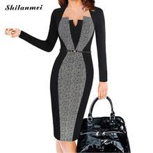 2018 Summer Women Retro Contrast Patchwork Belt Wear to Work Business vestidos Office Bodycon Pencil Female One Piece Dress Suit