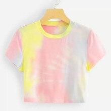 Women 2019 New Summer Tie Dyed Gradient Unicorn Color Crop Top T-shirt Female Korean Clothes Rainbow Ins Shirt Harajuku 80s 90s