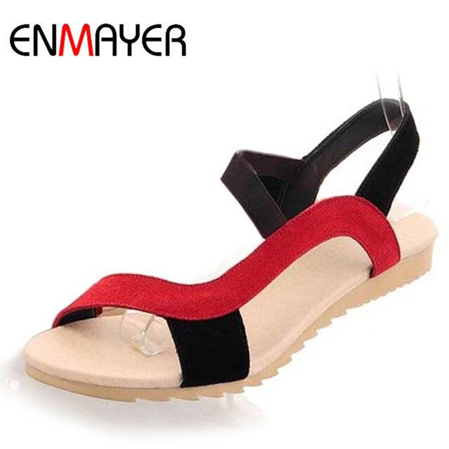 ENMAYE New Fashion Flats Heel Women Sandals Shallow Sandal Ladies Mix  Colors High Quality Wholesale Low b2fa5a4d95ad