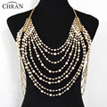 Chran New Stunning Sexy Body Belly, Silver Gold Body Chain Bra Slave Harness Faux Pearl Necklace Tassel Waist Jewelry DDBB221