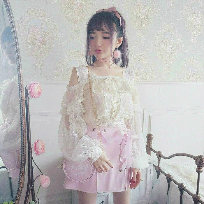 Księżniczka słodki lolita shirt Bobon21 bajki pancerz super piękne latarnia rękaw łączenie bez ramiączek pełna koronki koszula T1514 w Bluzki i koszule od Odzież damska na  Grupa 3