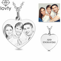 lovty Personalized Photo Custom made Necklace Heart Engraved Picture Disc Back Engraving Name Necklace Mother's Day Gift for Mom