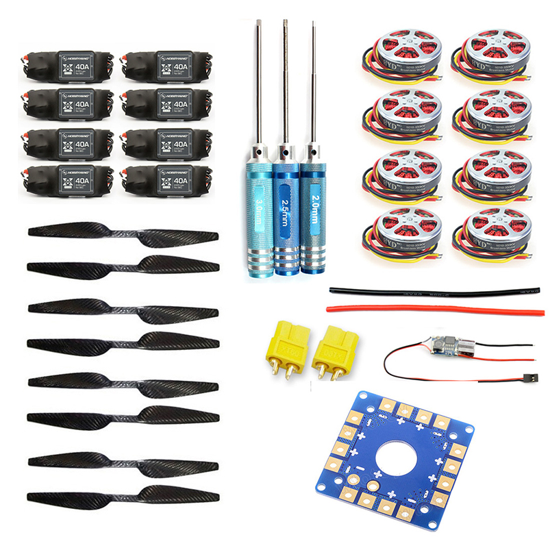 JMT 8-Axis Foldable Rack RC Helicopter Kit KK Connection Board+350KV Brushless Disk Motor+16x5.0 Propeller+40A ESC jmt j510 510mm carbon fiber 4 axis foldable rack frame kit with high tripod for diy helicopter rc airplane aircraft spare parts