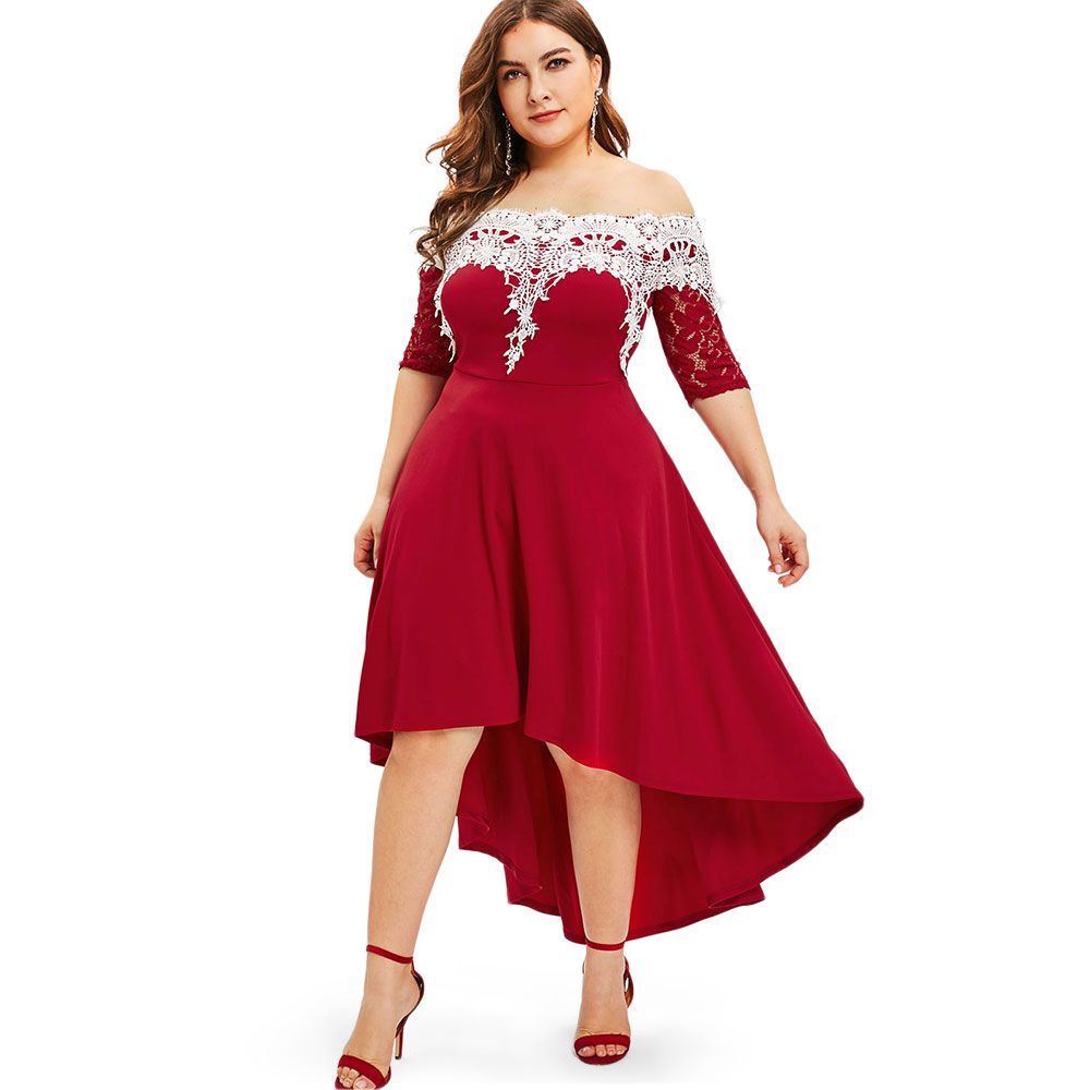 Rosegal Lace Panel Plus Size High Low Dress Women Dresses Fashion Spring Summer Half Sleeves Patchwork Dress Vestidos Big Size